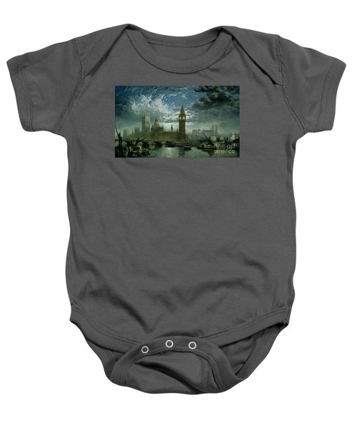 A View Of Westminster Abbey And The Houses Of Parliament Baby Onesie by John MacVicar Anderson