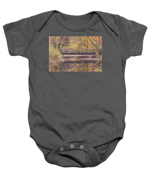 A Walking Bridge Reflection On Peaceful Flowing Water. Baby Onesie