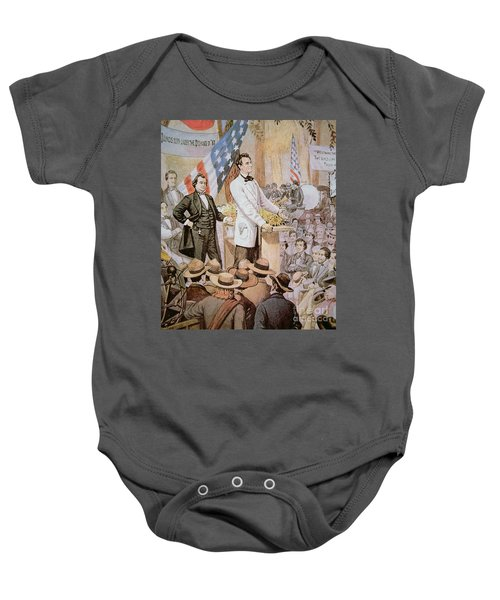 Abraham Lincoln In Public Debate With Stephen A Douglas In Illinois, 1858  Baby Onesie