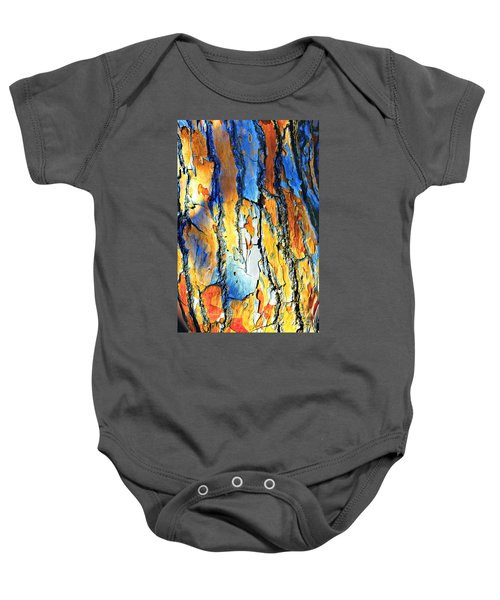 Abstract Saturated Tree Bark Baby Onesie