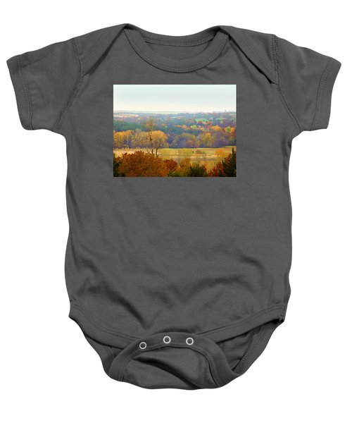 Across The River In Autumn Baby Onesie