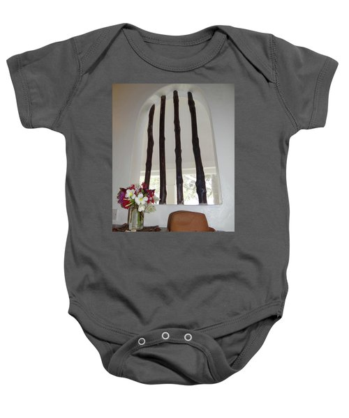 African Table With Flowers And Hat Baby Onesie