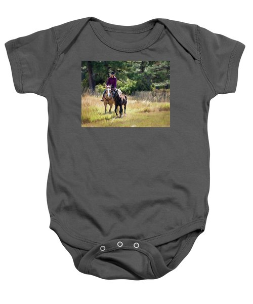 Afternoon Ride In The Sun - Cowgirl Riding Palomino Horse With Foal Baby Onesie