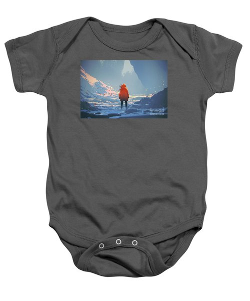 Baby Onesie featuring the painting Alone In Winter by Tithi Luadthong