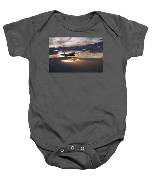 American Aircraft Landing At The Twilight. Miami. Fl. Usa Baby Onesie