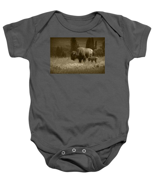 American Buffalo Bison Mother And Calf In Sepia Tone Baby Onesie