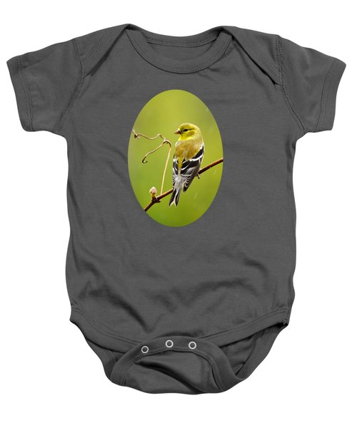 American Goldfinch In The Rain Baby Onesie by Christina Rollo