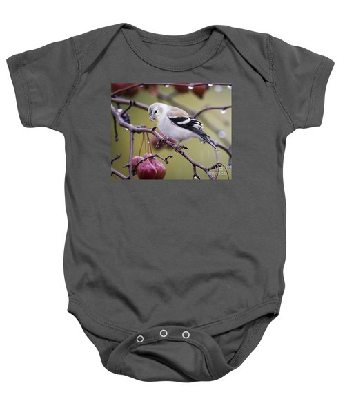American Goldfinch In The Rain Baby Onesie