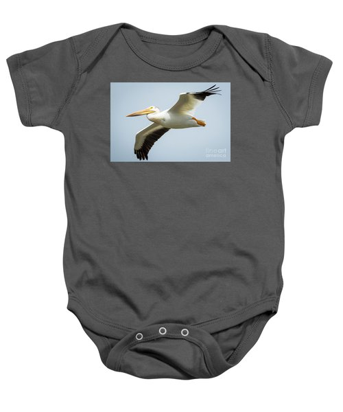 American White Pelican Flyby  Baby Onesie