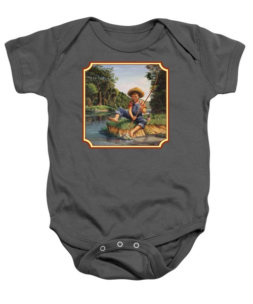Americana - Country Boy Fishing In River Landscape - Square Format Image Baby Onesie