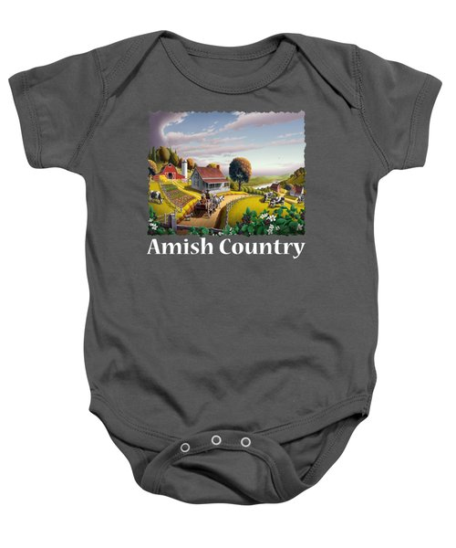 Amish Country T Shirt - Appalachian Blackberry Patch Country Farm Landscape Baby Onesie