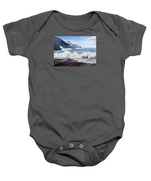 Baby Onesie featuring the painting An April Morning At Crackington Haven by Lawrence Dyer