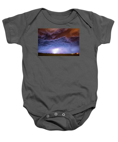 Another Impressive Nebraska Night Thunderstorm 007 Baby Onesie