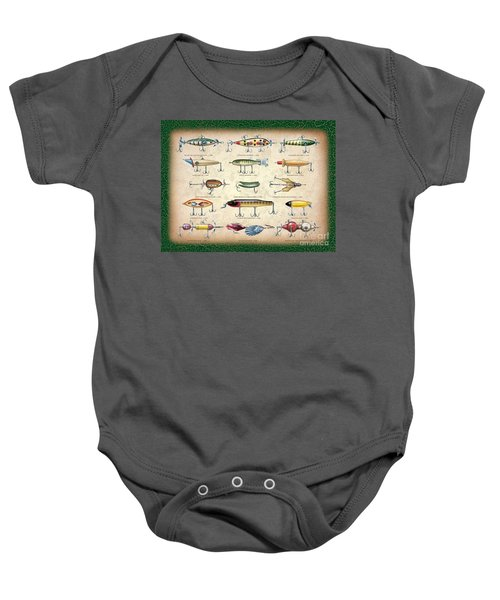 Antique Lures Panel Baby Onesie