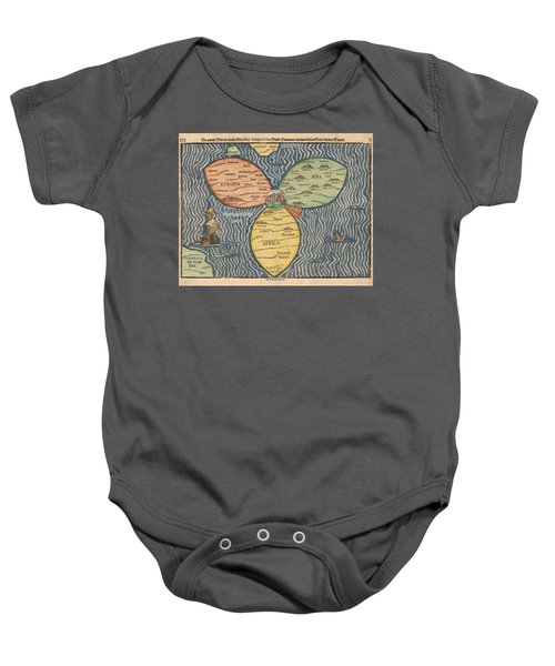 Antique Maps - Old Cartographic Maps - Antique Clover Leaf Map Of Europe, Asia And Africa Baby Onesie
