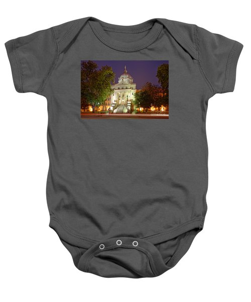 Architectural Photograph Of Mclennan County Courthouse At Dawn - Downtown Waco Central Texas Baby Onesie