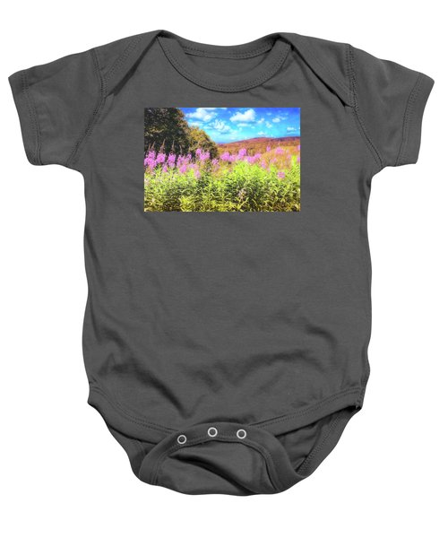 Art Photo Of Vermont Rolling Hills With Pink Flowers In The Foreground Baby Onesie