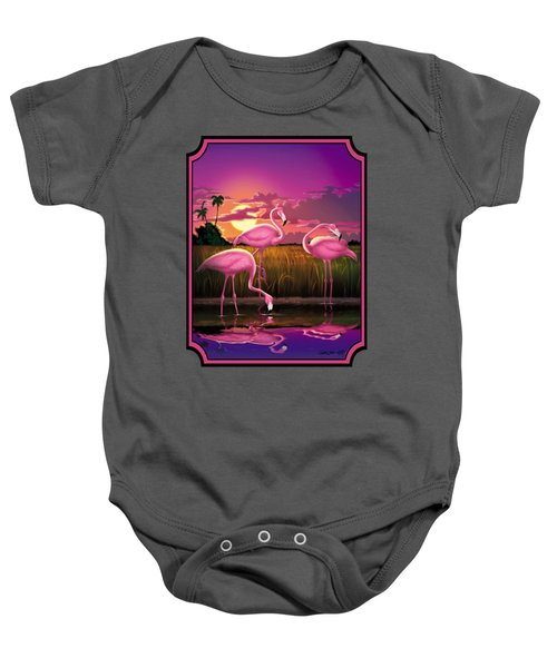 Flamingoes Flamingos Tropical Sunset Landscape Florida Everglades Large Hot Pink Purple Print Baby Onesie