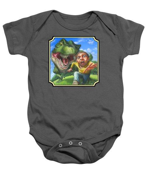 Tyrannosaurus Rex Jurassic Park Dinosaur - T Rex - T Rex - Extinct Predator - Square Format Baby Onesie by Walt Curlee