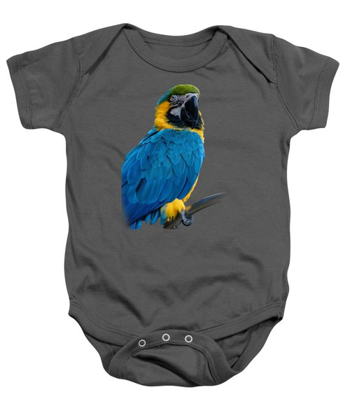 Blue Yellow Macaw No.2 Baby Onesie by Mark Myhaver