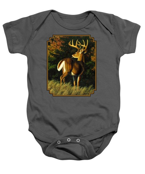 Whitetail Buck - Indecision Baby Onesie by Crista Forest