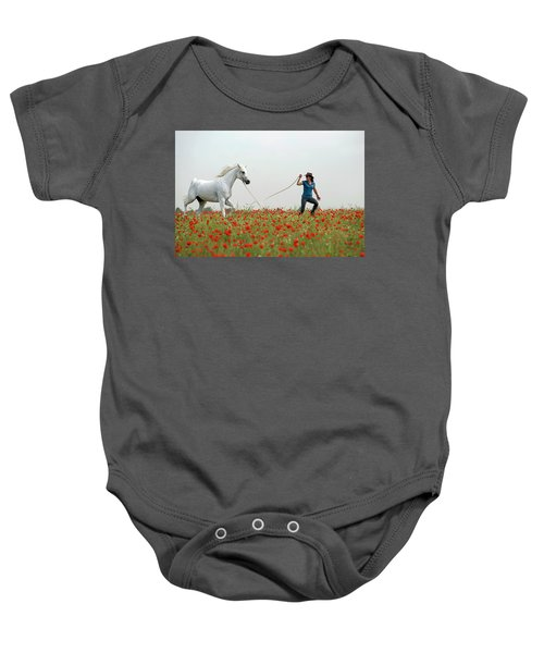 Baby Onesie featuring the photograph At The Poppies' Field... 2 by Dubi Roman