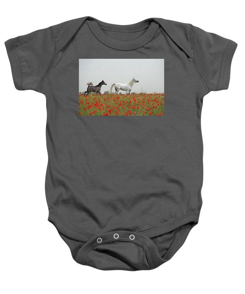 At The Poppies' Field... Baby Onesie by Dubi Roman