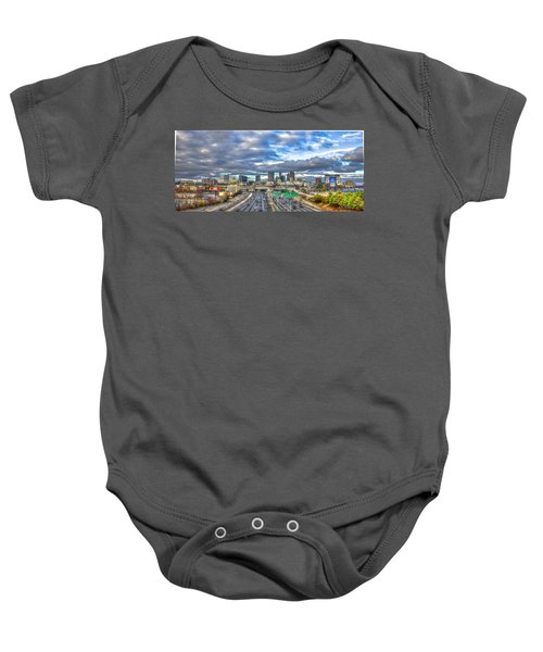 Atlanta Wide Angle Downtown Atlanta Cityscape Skyline Art Baby Onesie