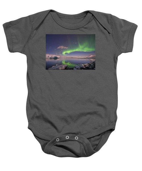 Aurora Borealis And Reflection #2 Baby Onesie