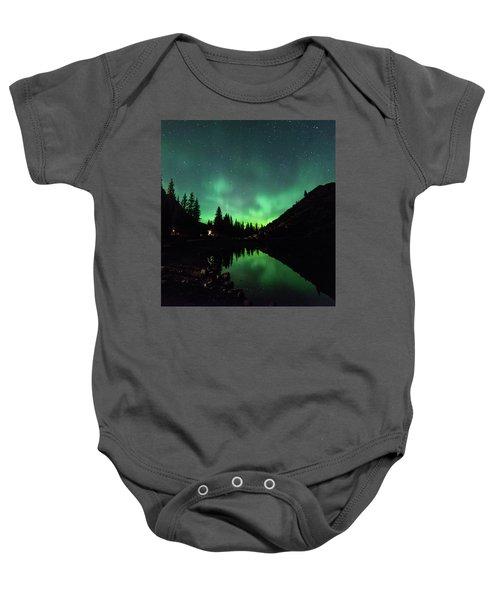 Aurora On Moraine Lake Baby Onesie