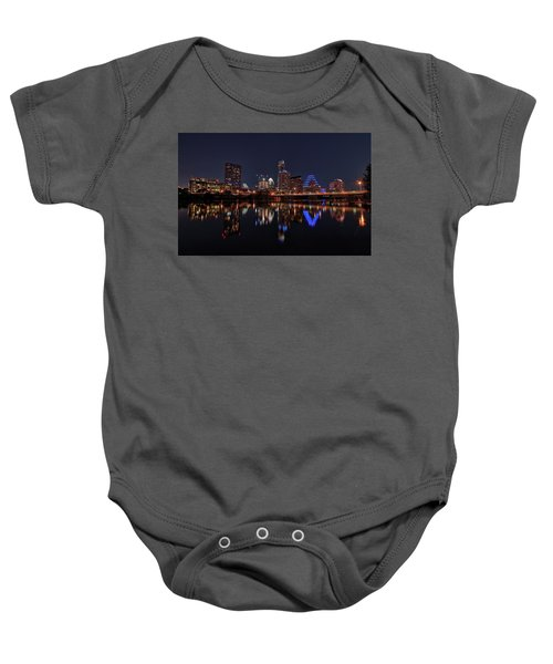 Austin Skyline At Night Baby Onesie