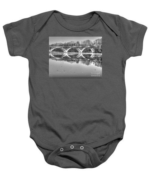 Autumn Bridge Reflections In Black And White Baby Onesie