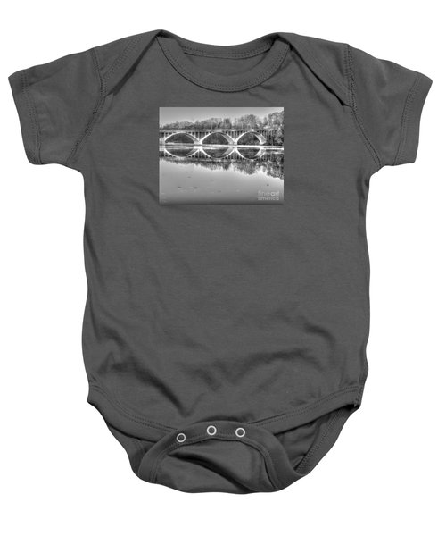 Autumn Bridge Reflections In Black And White Baby Onesie