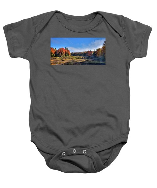 Baby Onesie featuring the photograph Autumn Panorama At The Green Bridge by David Patterson