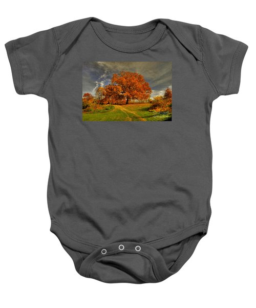 Autumn Picnic On The Hill Baby Onesie