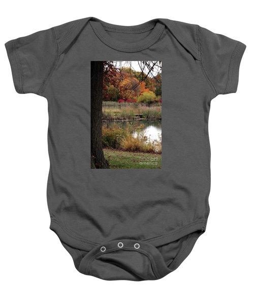 Autumn Pond In Maryland Baby Onesie