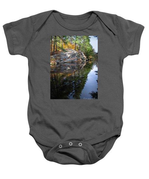 Autumn Reflections At Runaround Pond In Durham Maine  -20224 Baby Onesie