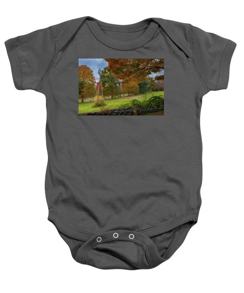 Baby Onesie featuring the photograph Autumn Windmill by Bill Wakeley