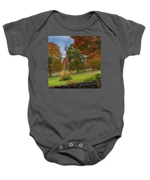 Baby Onesie featuring the photograph Autumn Windmill Square by Bill Wakeley