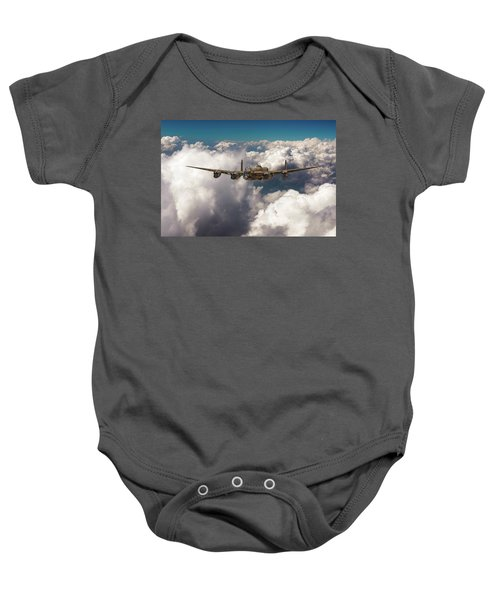 Baby Onesie featuring the photograph Avro Lancaster Above Clouds by Gary Eason