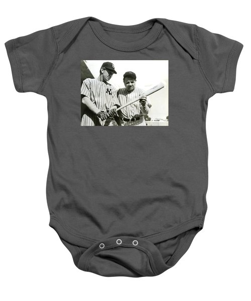 Babe Ruth And Lou Gehrig Baby Onesie by Jon Neidert