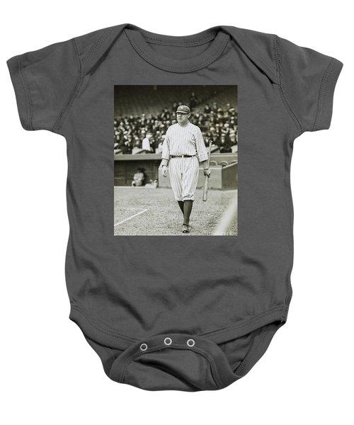 Babe Ruth Going To Bat Baby Onesie by Jon Neidert