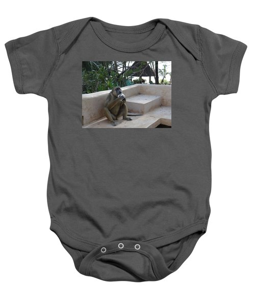 Baboon With A Sweet Tooth Baby Onesie by Exploramum Exploramum