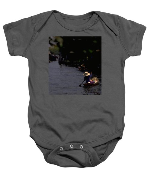Baby Onesie featuring the photograph Bangkok Floating Market by Travel Pics