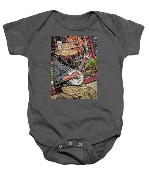 Banjo Man Orange Baby Onesie
