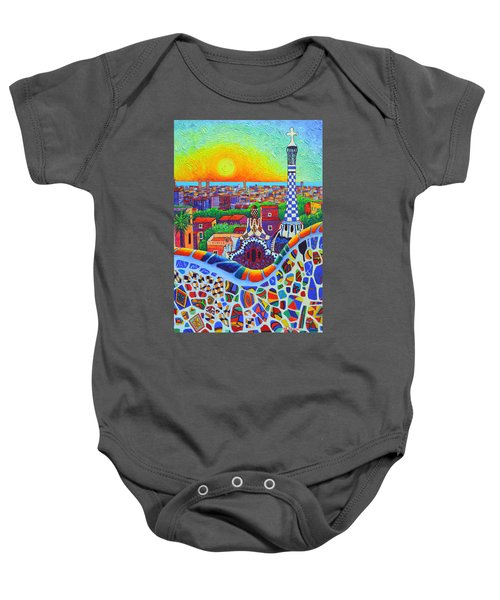 Barcelona Park Guell Sunrise Gaudi Tower Textural Impasto Knife Oil Painting By Ana Maria Edulescu Baby Onesie