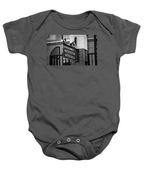 Baby Onesie featuring the photograph Baseball Warning Bw by Frank Romeo