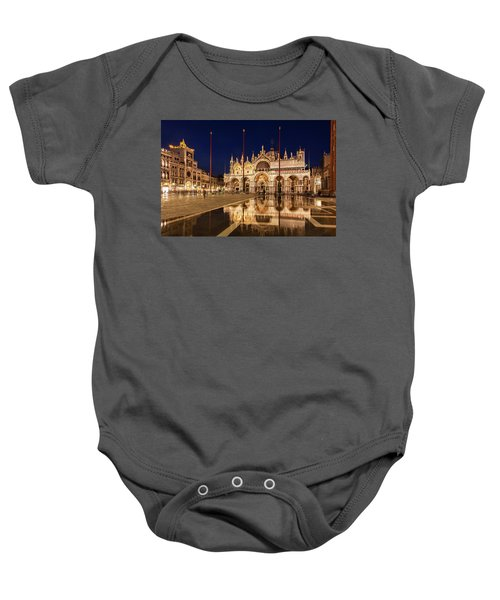 Basilica San Marco Reflections At Night - Venice, Italy Baby Onesie