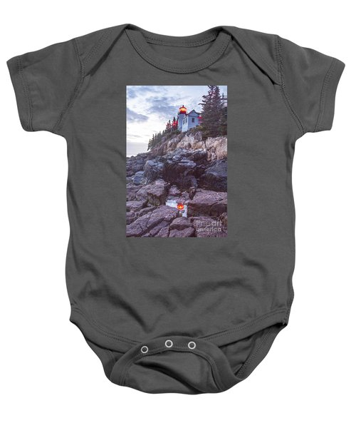 Bass Harbor Light Reflection Baby Onesie