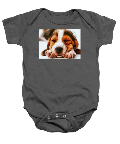 Baby Onesie featuring the digital art Beagle Puppy by Charmaine Zoe